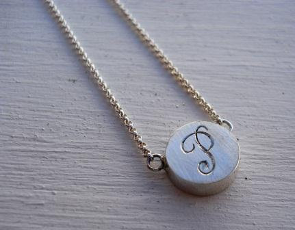 personalized engraved monogram necklace initial necklace sterling silver