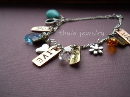 Mothers day gift Charm bracelet Copper brass and silver personalized customized charm bracelet