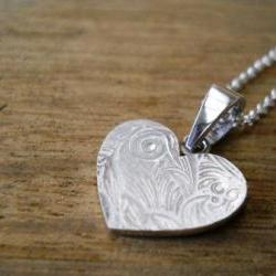 silver heart necklace heart jewelry flower necklace heart pendant sterling silver