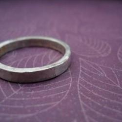 mens ring hammered silver band Unisex - Sale