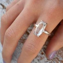White topaz ring Cushion cut