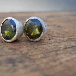 rustic olive green cubic zirconia stud earrings