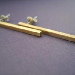 simple brass studs with sterling silver pins