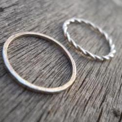 Twisted ring & thin hammered band. Stacking rings Free shipping